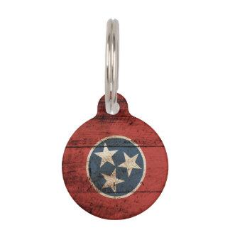 Tennessee-Staats-Flagge auf altem hölzernem Korn Tiernamensmarke