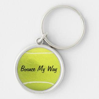 Tennis-Ball-Schlüsselkette - personalisiert Silberfarbener Runder Schlüsselanhänger