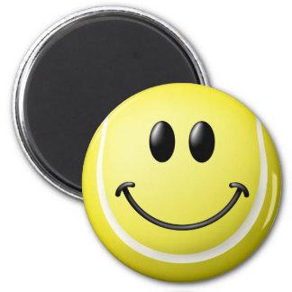Tennis-Ball-Smiley Runder Magnet 5,1 Cm