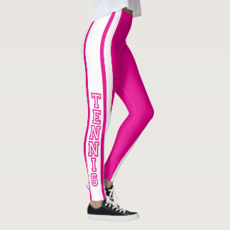 Tennis in den Pink-und Weiß-Typografie-Buchstaben Leggings
