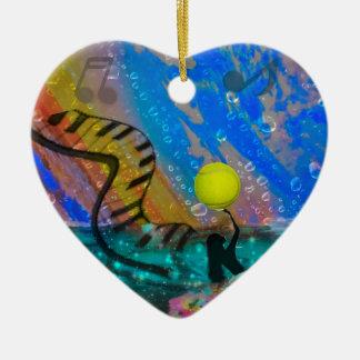 Tennis ist meine große Leidenschaft Keramik Herz-Ornament
