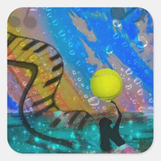 Tennis ist meine große Leidenschaft Quadratischer Aufkleber