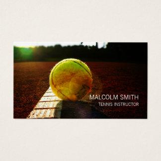 Tennis-Lehrer-Tennisball auf Boden Nahaufnahme Visitenkarte