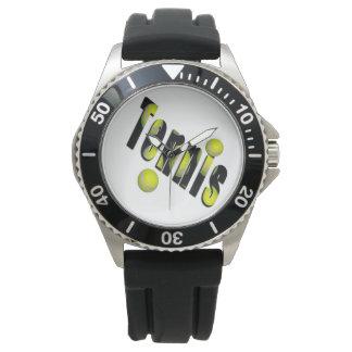 Tennis-Logo und gelbe Bälle, Armbanduhr