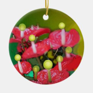 Tennis mit roten Blumen Rundes Keramik Ornament