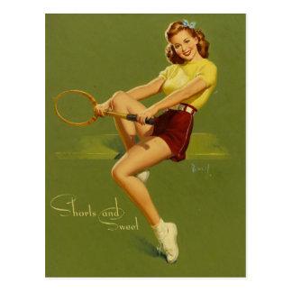 Tennis PinUp Girl Postkarte