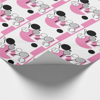 Tennis rosa weißes schwarzes girly geschenkpapier