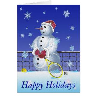 Tennis-Schneemann frohe Feiertage Karte