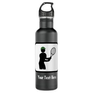 Tennis spielen - Typ mit Schläger - Edelstahlflasche