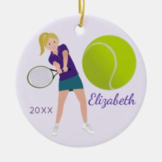 Tennis-Spieler-blonde Andenken-Verzierung Keramik Ornament