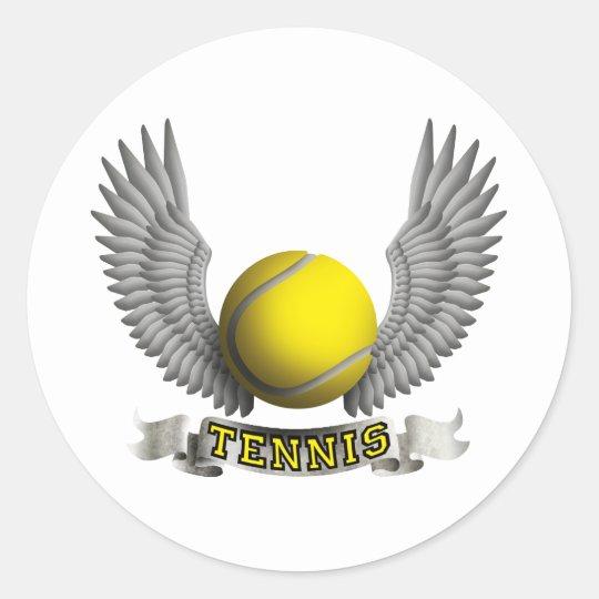 Tennis wings B Runder Aufkleber