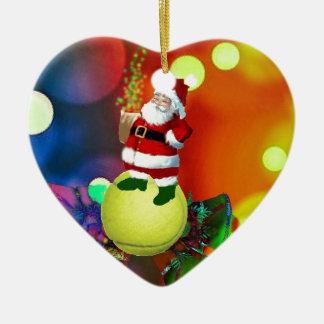 Tennisball Sankt und Glocken Keramik Herz-Ornament