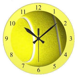 Tennisball-Sport-Wanduhr-Schwarz-Zahlen Große Wanduhr