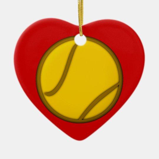 Tennisball tennis ball keramik Herz-Ornament