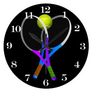Tennisball und Schläger Große Wanduhr