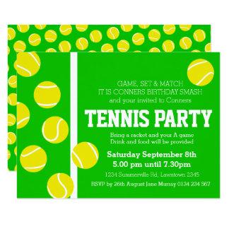 Tennisgeburtstags-Party laden Grünes, Gelbes u. 8,9 X 12,7 Cm Einladungskarte