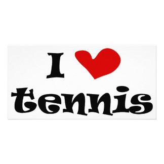 Tennisgeschenke und -t-Shirts der Liebe I mit Photo Karte