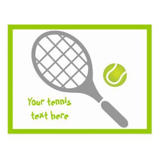 Tennisschläger- und -ballgewohnheit postkarte