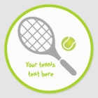 Tennisschläger- und -ballgewohnheit runder aufkleber