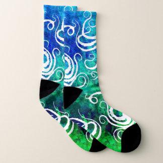 Tentakeln blau/Grn - L (US-Männer 8-13/Women Socken