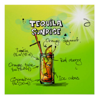 Tequila-Sonnenaufgang-Cocktail-Plakat Poster