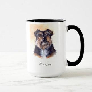 Terrier gemalt in der Wasserfarbe Tasse