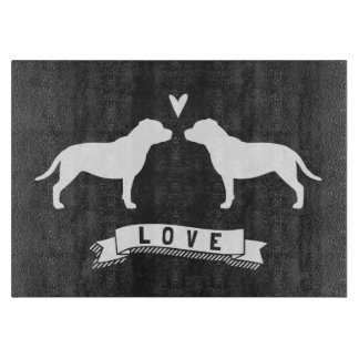 Terrier-Silhouette-Liebe Staffordshires Stier Schneidebrett