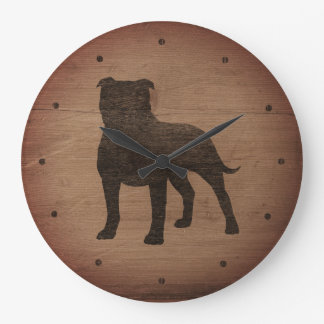 Terrier-Silhouette-rustikale Art Staffordshires Große Wanduhr