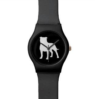 Terrier-Silhouette Staffordshires Stier Handuhr