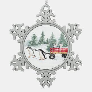 Terrier und Pinguine Schneeflocken Zinn-Ornament