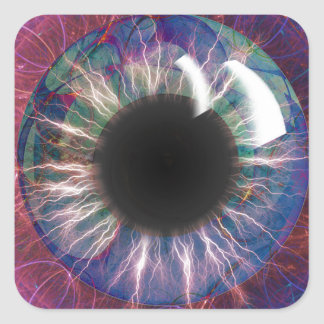 Teslas Augen-Fraktal Design Quadratischer Aufkleber
