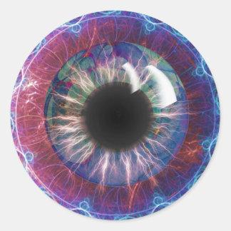 Teslas Augen-Fraktal Design Runder Aufkleber