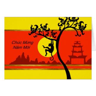 Tet, vietnamesisches neues Mondjahr des Affen Karte