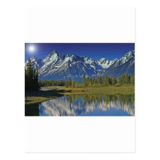 Teton Mountainsee-Schablone Postkarte