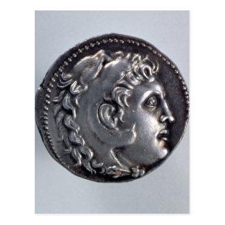Tetradrachma, das Alexander der Große darstellt Postkarte
