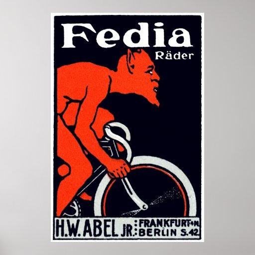 Teufel 1920, der Fahrrad fährt Plakatdrucke