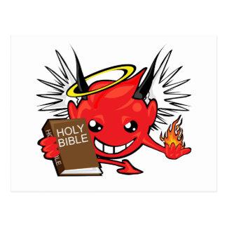 Teufel/Engels-Smiley Postkarte