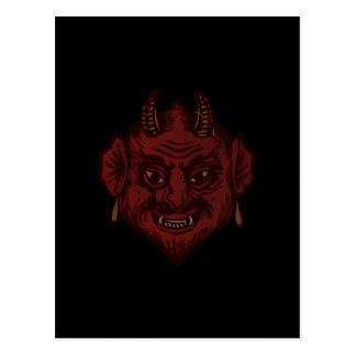 Teufel-Kopf (verblaßtes Rot) Postkarte
