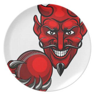 Teufel-Kricket trägt Maskottchen zur Schau Melaminteller