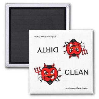 Teufel-sauberer schmutziger Spülmaschinen-Magnet Quadratischer Magnet