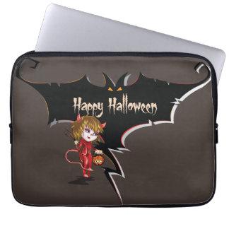 Teufelmädchen und Schläger glückliches Halloween Laptopschutzhülle