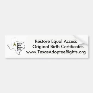 Texas-Adoptierter berichtigt Autoaufkleber