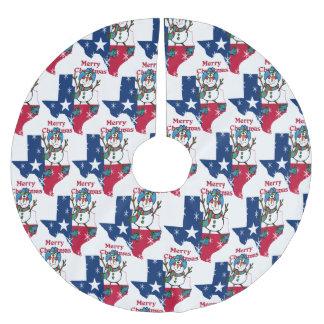 Texas-Cowboy-Schneemann-frohe Weihnachten Sie Polyester Weihnachtsbaumdecke
