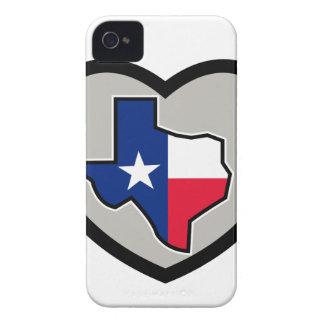 Texas-Flaggen-Karte innerhalb der Herz-Ikone iPhone 4 Case-Mate Hüllen