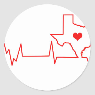 Texas-Herzschlag Runder Aufkleber