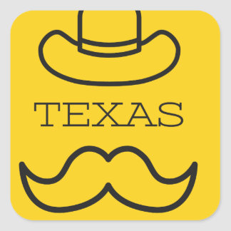 Texas in Gelb 2 Quadratischer Aufkleber