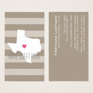 Texas-Karten-Zuhause-Staats-Liebe mit Visitenkarte