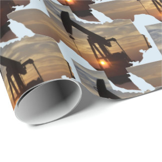 Texas-Öl-Pumpen-Jack am Geschenkpapier