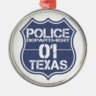 Texas-Polizeidienststelle-Schild 01 Silbernes Ornament