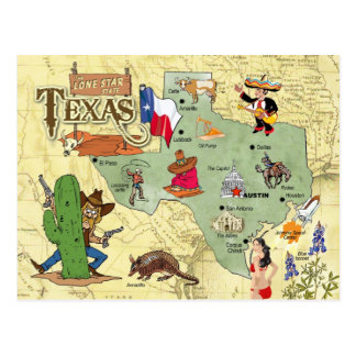 Texas-Staats-Karte Postkarte